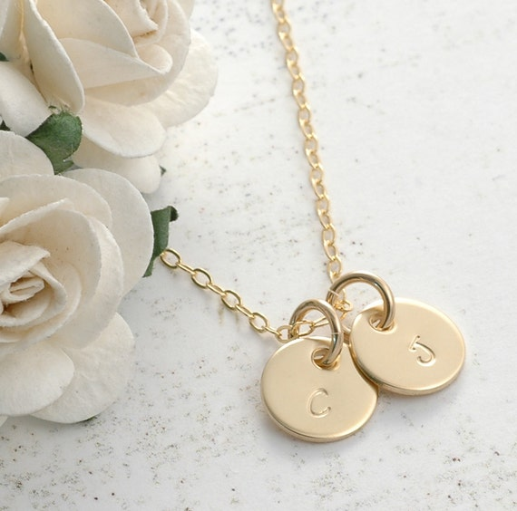 "Initial Necklace - Gold Initial Necklace - Personalized Necklace  - Monogram gift -  3/8"" GF charms"