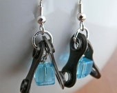 Cycling recycled metal bicycle chain blue glass cube earrings bicycle jewelry