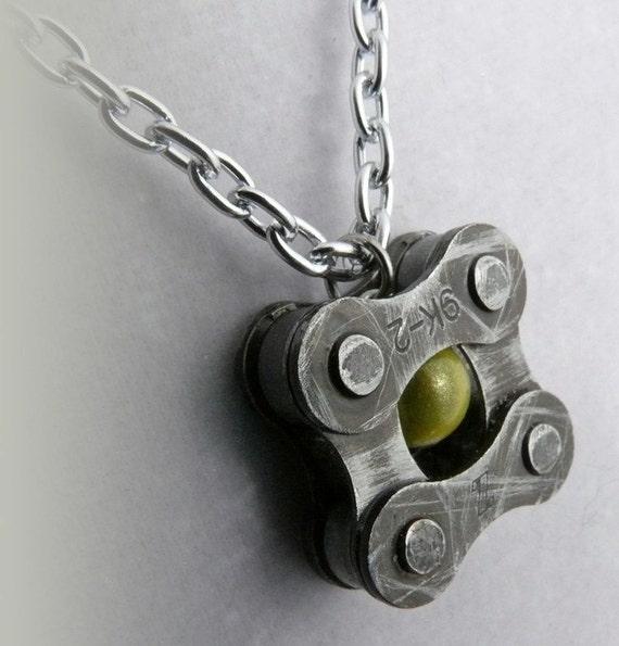 Bike jewelry Cycling Pendant recycled metal bike chain yellow glass