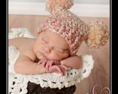Newborn Girl Hat, Double Pom Pom Baby Hat, Fun Pom Pom Sack Hat, Newborn Baby Girl Crochet Photo Prop