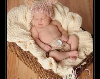 Newborn Girl Hat and Diaper Cover Set, Baby Double Pom Pom Hat and Diaper Cover, Newborn Photo Prop, Crochet Hat Diaper, Baby Girl Set, Pink