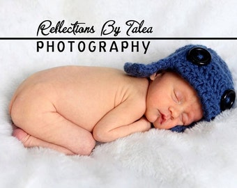 Newborn Hat, Newborn Photo Prop, Boy Hat, Newborn Aviator Hat, Baby Pilot Hat, Chunky Aviator Pilot Hat, Boy Crochet PHOTO PROP
