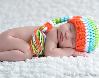 Newborn Elf Hat, Bright Stripes Elf Hat, Baby Stocking Hat, Baby Boy Hat, Baby Girl Hat, Newborn Photo Prop, Crochet Baby Hat, Infant Hat