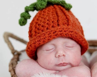 Newborn Pumpkin Hat, Cute Lil Pumpkin Hat, Baby Pumpkin Hat, Newborn Baby Crochet PHOTO PROP