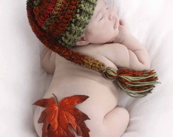 Fall Elf Hat - Newborn Hat, Newborn Photo Prop, Autumn Hat, Fall Leaves, Baby Hat for Fall, Longtail Elf Hat, Gnome Hat, Orange, Rust, Green
