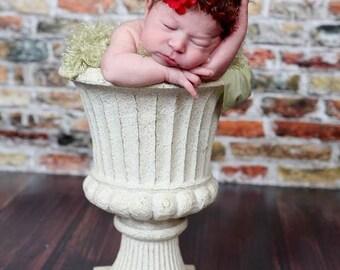 Baby Headband, Red Buttercup Flower Halo, Newborn Halo, Newborn Baby Crochet  PHOTO PROP