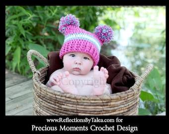 Girl Pom Pom Hat, Newborn Photo Prop, Double Pom Pom Hat, Crochet Hat for Girls, Hot Pink Hat, Crochet Photo Prop, Infant Girl Baby Hat
