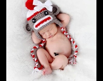 Baby Hat, Sock Monkey Hat, Newborn Sock Monkey, Gray Sock Monkey Hat, Crochet Sock Monkey,  Crochet Newborn Unique Photo Prop Select Size