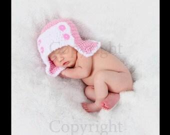 Newborn Aviator Hat, Baby Girl Aviator Hat, Amelia Aviator Hat, Newborn Pilot Hat, Baby Girl Crochet PHOTO PROP