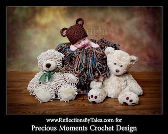 Baby Bear Hat, Newborn Bear Hat, Crochet Hat for Baby, Teddy Bear Baby Crocheted Hat, Newborn Photo Prop