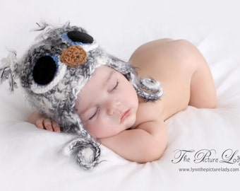Newborn OWL Hat, Baby Owl Hat, Fuzzy Owl Hat, Newborn Baby Crocheted Unique Photo Prop