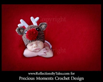 6-12 month Reindeer Hat, Baby Christmas Hat,  Baby Crochet Christmas  PHOTO PROP