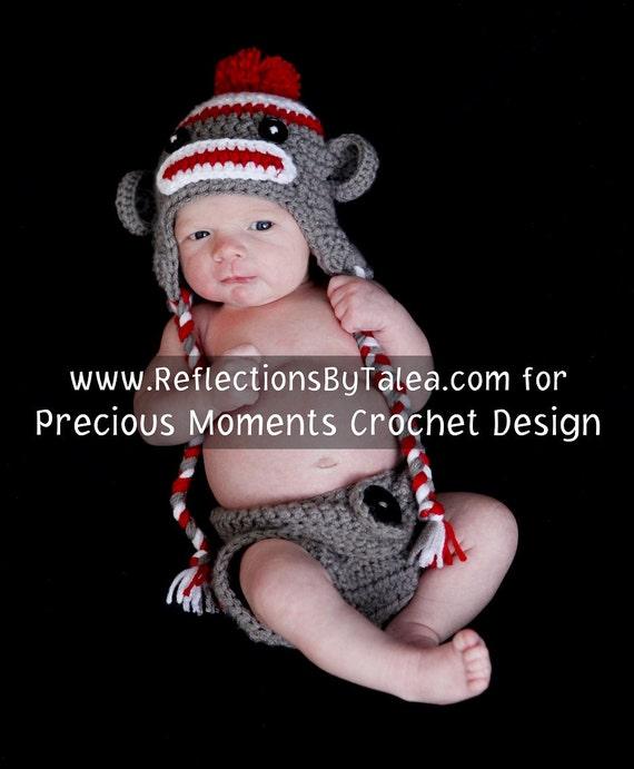 SET Sock Monkey  Hat  and Diaper Cover Baby Crochet Unique Photo Prop