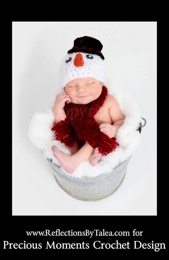 Christmas Baby Hat Snowman Hat and Scarf Crocheted Baby Photo Prop