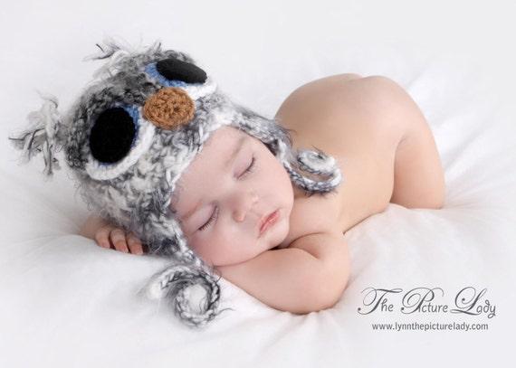 Newborn OWL Hat, Baby Owl Hat, Fuzzy Owl Hat, Newborn Baby Crocheted Unique Photo Prop