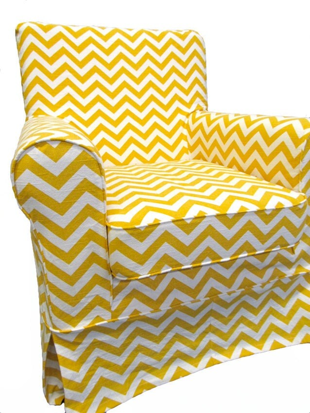 Ikea Jennylund Custom Slipcover In Yellow Chevron By