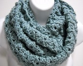 Cotton Infinity Loop Cowl in Grayed Jade by Stitchknit