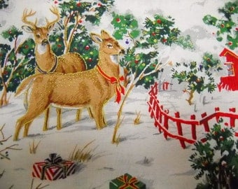 Holiday Print Fabric, 1 yard Fabric, Nature Print Fabric, Sewing Notions, Rustic Themed Fabric