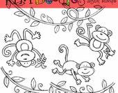 Monkey business digital  black line stamps