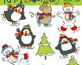 KPM Penguins on ice Digital Clip art