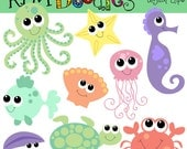 INSTANT DOWNLOAD baby sea creatures digital clipart
