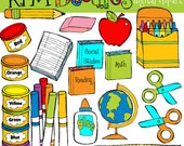 COMBO School Tools digital clipart and blackline stamps