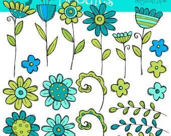 KPM Teal Flower Patch digital clip art