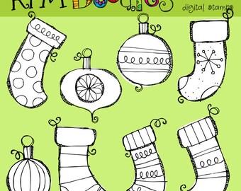 KPM Stocking and Ornaments Digital black line stamp