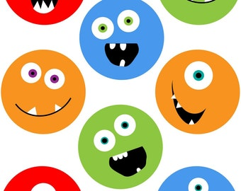 KPM digital collage sheet monsters 2 3/4 inch circles