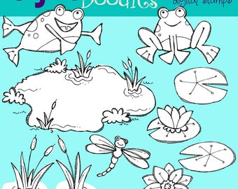 KPM Frogs in a pond  digital stamps