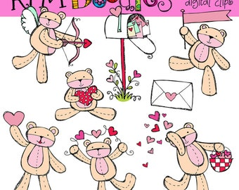 KPM Valentine bears digital clip art COMBO