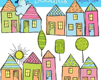 KPM Pretty little houses digital clipart