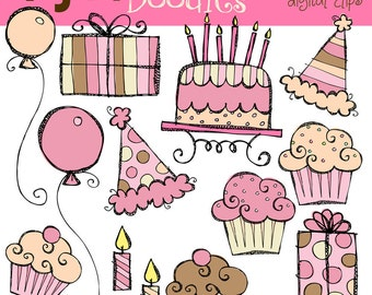 KPM Baby Girl Birthday Digital Clip Art