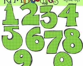 KPM  Green Numbers Digital Clip art