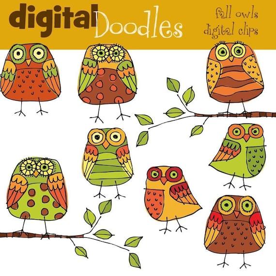 KPM Fall owls digital clip art
