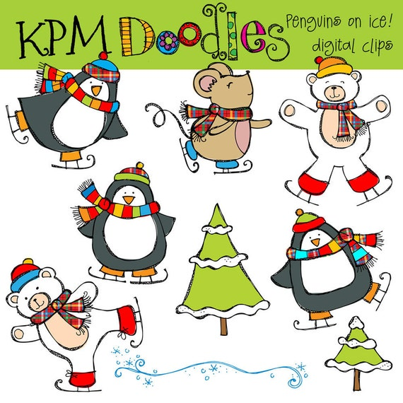 KPM Penguins on ice Digital Clip art