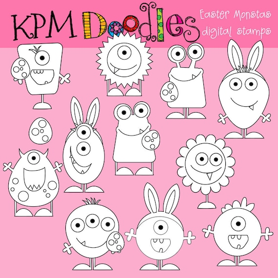 Easter Monsters digital  blackline stamps