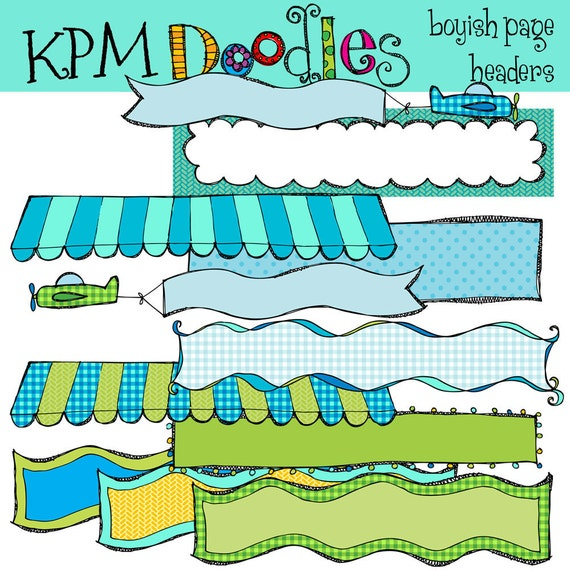 KPM Blues and Greens Page Headers banners Digital Clipart