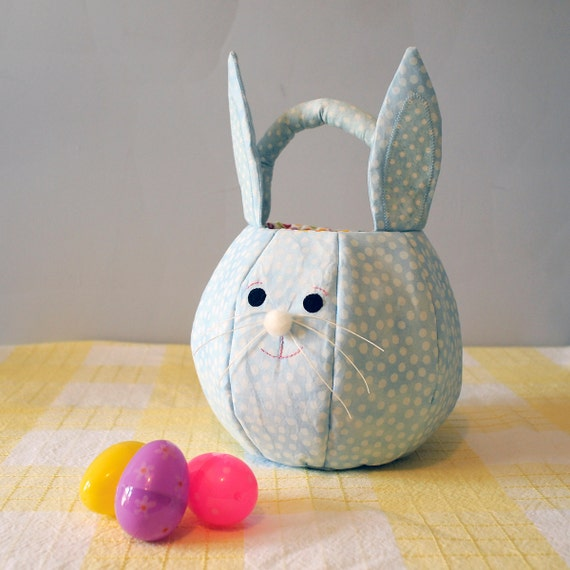 Easter Basket Quilted Fabric Easter Bunny Basket Pastel Blue Tonal Dot Easter Tote