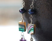 Abalone and Pearl Earrings - Abalone Shell, Pearl and Amethyst -  Boho Peacock Ocean Gemstone Jewelry