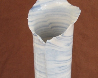Tall Ceramic Vase - Slab Built White and Cobalt Blue Marbled Pottery (Agateware) - Handmade Ceramics and Pottery Wedding Gift