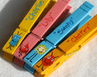 LITTLE MONSTERS hand painted magnetic clothespin set