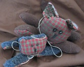 Set of Tiny Kitty Cats Primitive Rag Cloth Doll Animals, an Original design