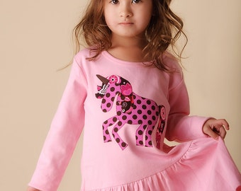 Size 6 Girls Unicorn Dress Babydoll Applique Fits like 5T 6T Ready to Ship Horse Tunic Pink and Brown