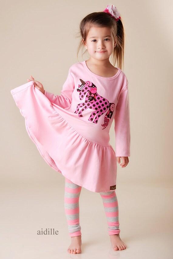 Girls Unicorn Dress Fall Applique 18m 2 4 6 8 Valentines Day Dress Babydoll Knit Long Sleeved Pink Dress, Horse Tunic