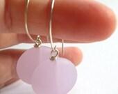 Custom Listing For Jenn-Big Mod Dots, Milky Pink Sea Glass Earrings On Handcrafted Sterling Silver Ear Hooks