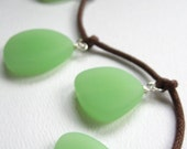 Mod Necklace Pastel Chalcedony Green, Sea Glass Pendants- Luna Moth
