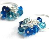 Blue Swarovski Crystal Earrings On Spiral Hoops