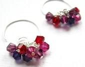 Crushed Berries Spiral Hoop Crystal Earrings- Velvet Purple, Fuchsia &  Ruby Red