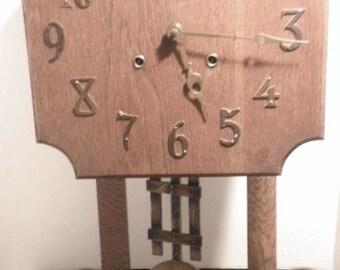 Antique Working Gilbert Mission Oak Wall Clock Circa 1900